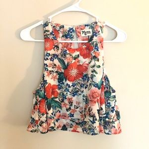 Show Me Your MuMu Floral Cropped Double Layer Tank